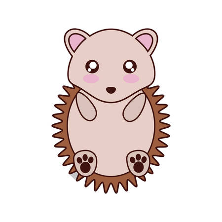 porcupine: porcupine kawaii cute animal little icon. Isolated and flat illustration