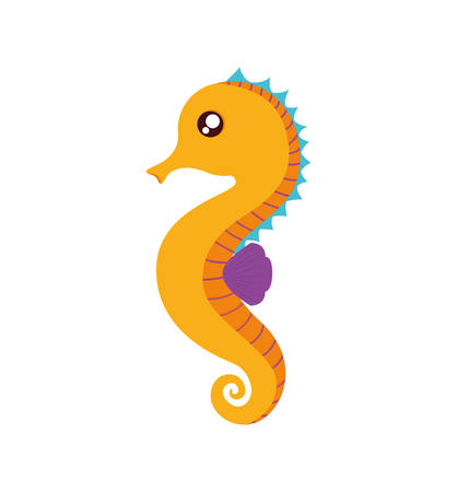 horse care: sea horse cute animal little icon. Isolated and flat illustration