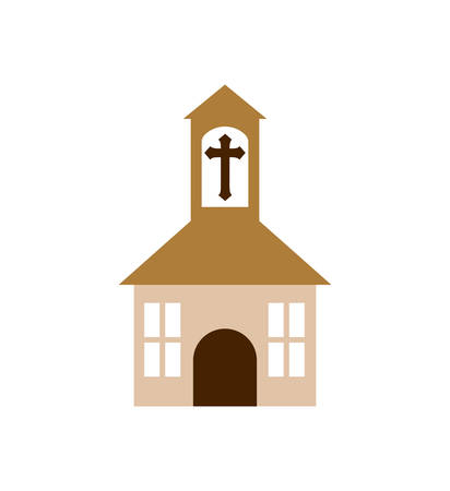 church building religion christianity icon. Isolated and flat illustration