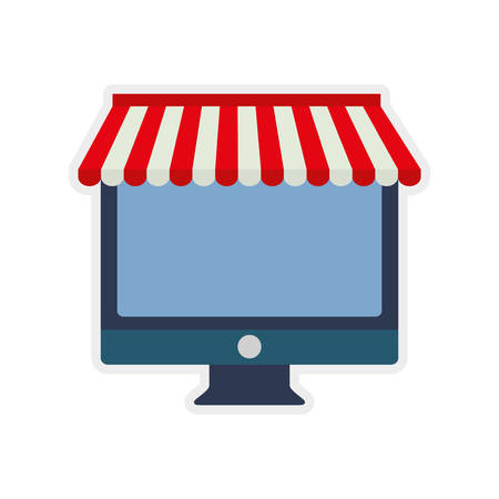 retail display: computer shopping commerce market icon. Isolated and flat illustration. Illustration