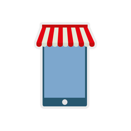 retail display: smartphone shopping commerce market icon. Isolated and flat illustration.