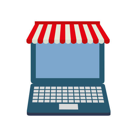 retail display: laptop shopping commerce market icon. Isolated and flat illustration.