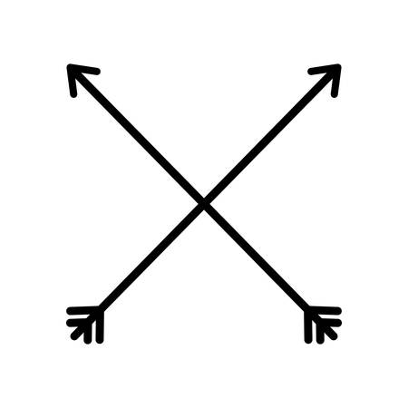 orientation marker: arrow cross feather vintage icon. Isolated and flat illustration.