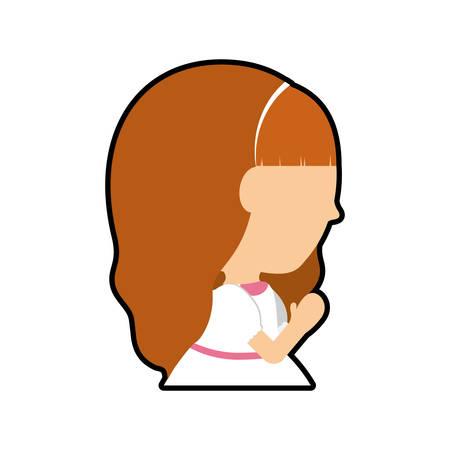 catholicism: pray girl kid religion catholicism icon. Isolated and flat illustration Illustration