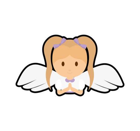 muchacha niño icono de dibujos animados ángel. ilustración y plana