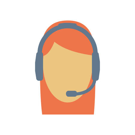 technical assistant: operator assistant woman headphone call center technical service icon. Isolated and flat illustration Illustration