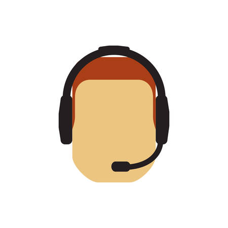 technical assistant: operator assistant man headphone call center technical service icon. Isolated and flat illustration Illustration