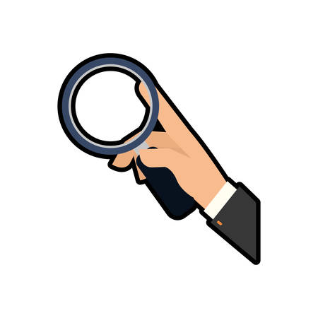 magnifying glass icon: lupe hand search magnifying glass icon. Isolated and flat illustration. Vector graphic Illustration
