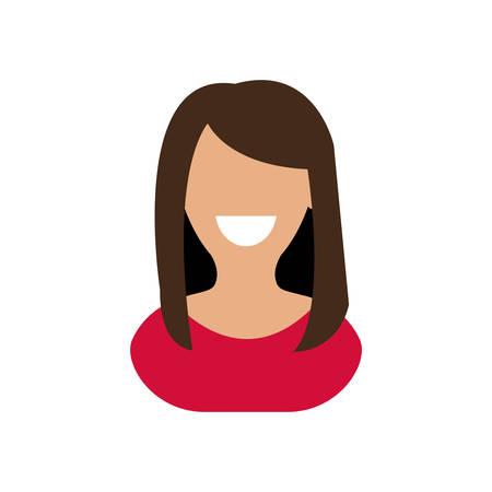 Femme, sourire, femme, fille, personne, personne. Illustration isolée et plate. Graphique vectoriel Vecteurs