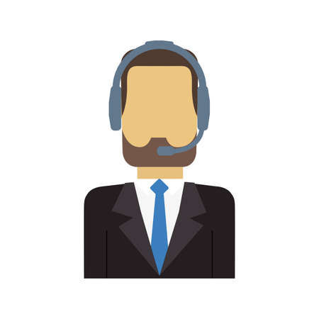 technical assistant: operator assistant man headphone call center technical service icon. Isolated and flat illustration Stock Photo