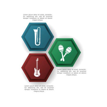 maraca: trumpet guitar maraca infographic music sound icon. Flat and Colorful illustration. Vector illustration