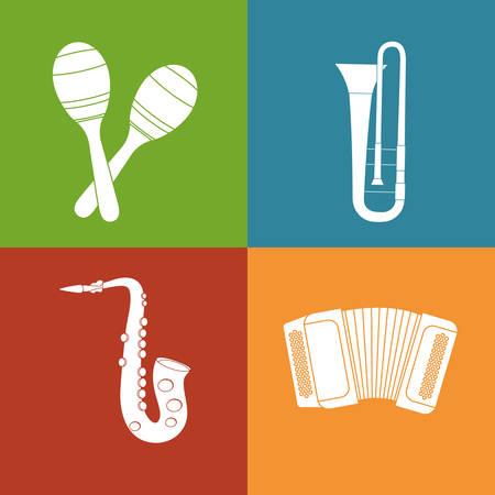 maraca: maraca trumpet saxophone accordion music sound instrument icon. Flat and Colorful illustration. Vector illustration Illustration