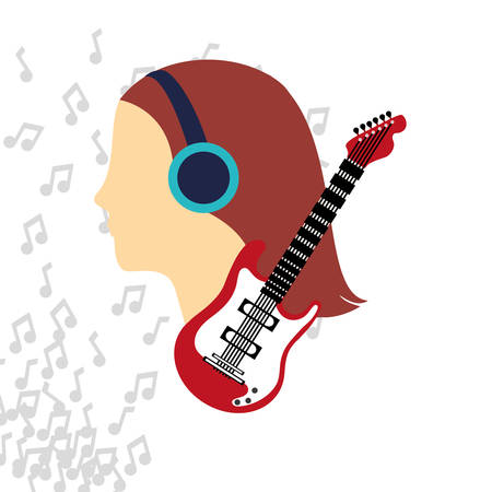 woman girl headphone guitar music note sound icon. Flat and Colorful illustration. Vector illustration Illustration