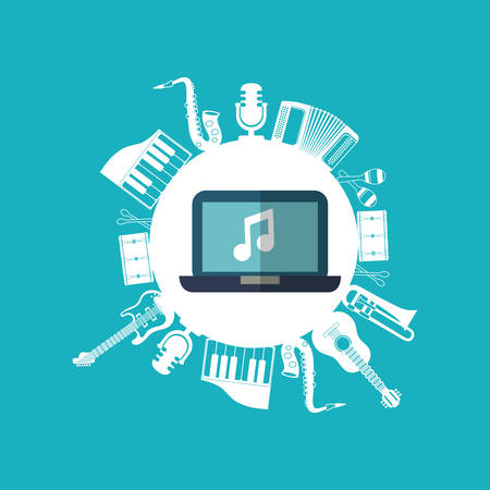 music sound instruments laptop icon. Flat and Colorful illustration. Vector illustration
