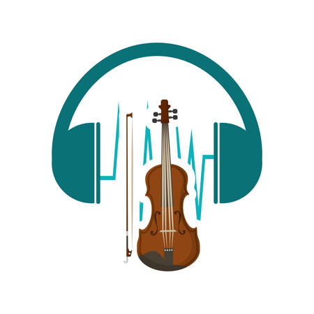 headphone cello music sound icon. Flat and Colorful illustration. Vector illustration Illustration