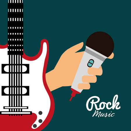 guitar microphone music sound instrument icon. Flat and Colorful illustration. Vector illustration