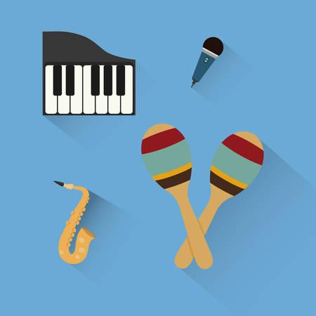 maraca: piano maraca saxophone microphone music sound instrument icon. Flat and Colorful illustration. Vector illustration Illustration
