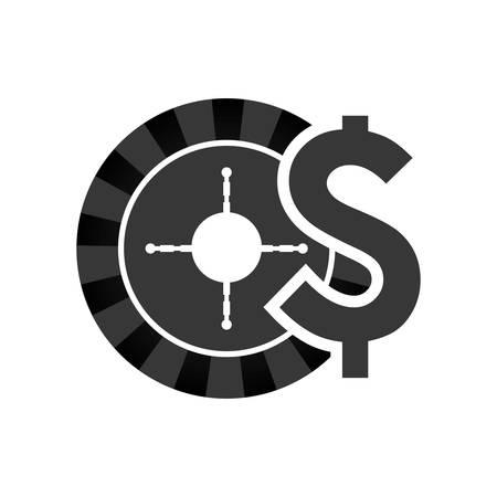 ruleta casino: roulette casino vegas icon. Flat and Isolated design. Vector illustration Vectores