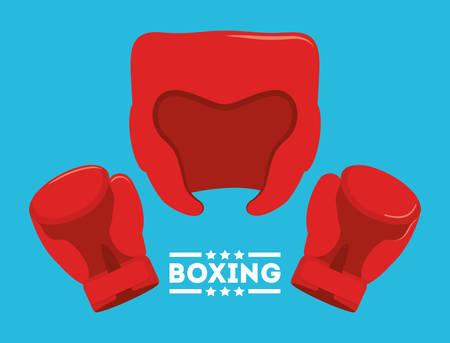 glove helmet boxing sport training icon. Colorful and flat design. Vector illustration Illustration
