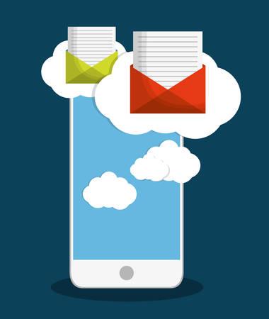 envelope smartphone cloud email marketing send icon. Colorful and flat design. Vector illustration Illustration