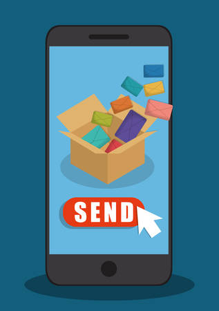 send: envelope smartphone box email marketing send icon. Colorful and flat design. Vector illustration