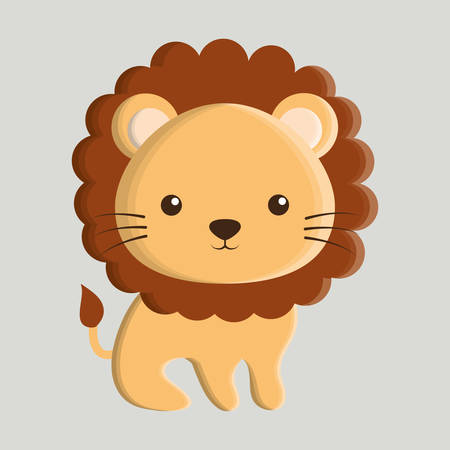 'wildlife reserve': lion animal cute little cartoon icon. Colorful and flat design. Vector illustration