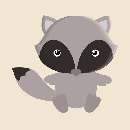wildlife reserve: raccoon animal cute little cartoon icon. Colorful and flat design. Vector illustration
