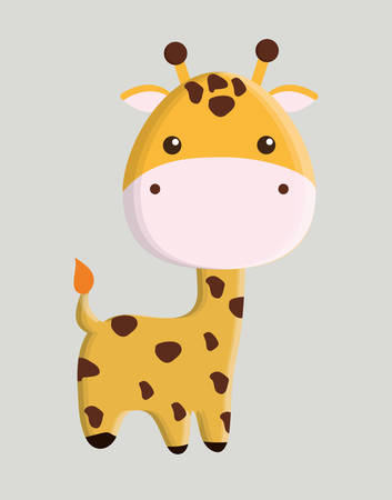 wildlife reserve: giraffe animal cute little cartoon icon. Colorful and flat design. Vector illustration Illustration