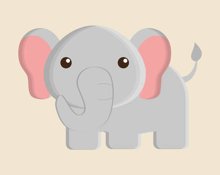 elephant animal cute little cartoon icon. Colorful and flat design. Vector illustration