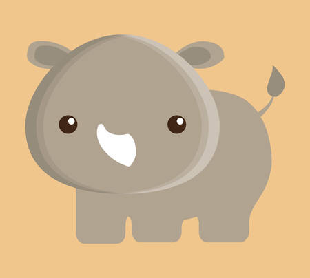 wildlife reserve: rino animal cute little cartoon icon. Colorful and flat design. Vector illustration