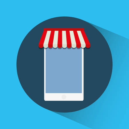 retail display: smartphone shopping online store market icon. Flat and Colorfull illustration. Vector graphic