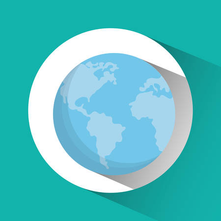planet earth blue sphere icon. Flat and Colorfull illustration. Vector graphic Иллюстрация