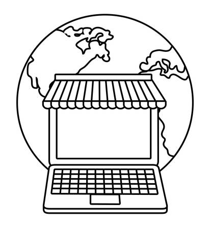 retail display: laptop planet shopping online store market icon. Flat and silhouette illustration. Vector graphic