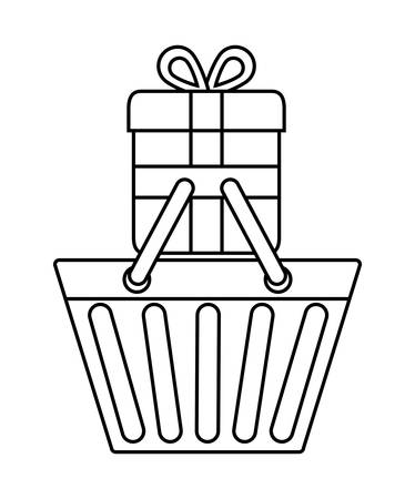 retail display: shopping basket gift online store market icon. Flat and silhouette illustration. Vector graphic