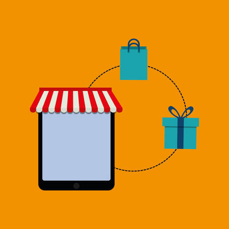paying: shopping bag tablet gift online payment ecommerce icon. Flat illustration. Vector graphic