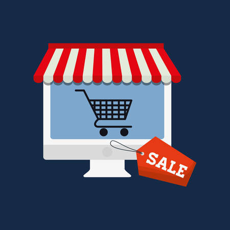 retail display: computer cart online payment shopping ecommerce icon. Flat illustration. Vector graphic
