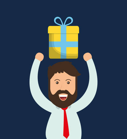 man gift online payment shopping ecommerce icon. Flat illustration. Vector graphic