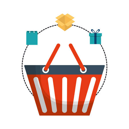 shopping basket box gift bag online payment ecommerce icon. Flat illustration. Vector graphic Illustration