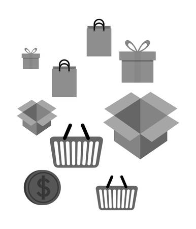 gift basket: shopping bag box gift coin basket online payment ecommerce icon. Flat illustration. Vector graphic