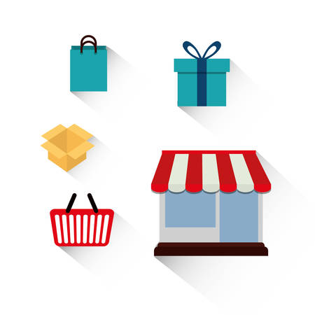 gift basket: shopping basket store box gift bag online payment ecommerce icon. Flat illustration. Vector graphic