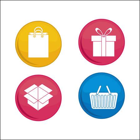 gift basket: shopping basket bag box gift online payment ecommerce icon. Flat illustration. Vector graphic Illustration