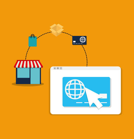 store bag box credit card cursor website online payment shopping ecommerce icon. Flat illustration. Vector graphic