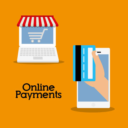 credit cart: laptop credit card smartphone cart online payment shopping ecommerce icon. Flat illustration. Vector graphic Illustration