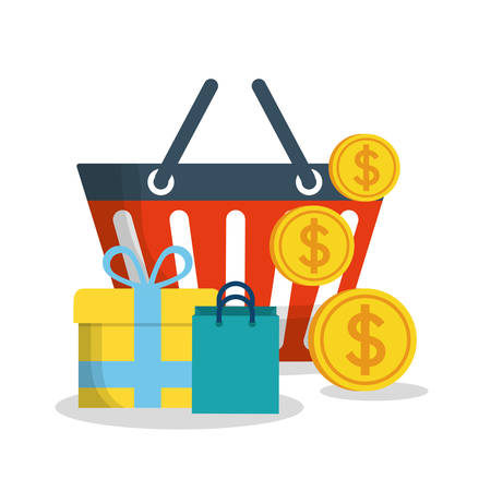 gift basket: shopping basket coins gift bag online payment ecommerce icon. Flat illustration. Vector graphic