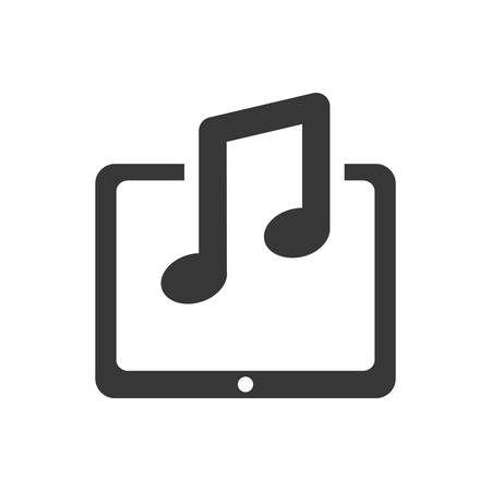 media gadget: tablet music note gadget technology media icon. Isolated and flat illustration. Vector graphic