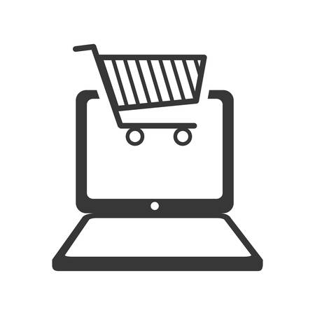 media gadget: laptop shopping cart gadget technology media icon. Isolated and flat illustration. Vector graphic