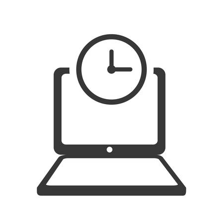 media gadget: laptop clock gadget technology media icon. Isolated and flat illustration. Vector graphic Illustration