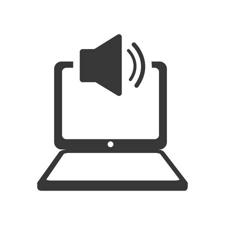media gadget: laptop sound gadget technology media icon. Isolated and flat illustration. Vector graphic