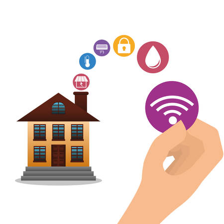 hand smart house home technology icon set. Flat and Colorful illustration. Vector illustration