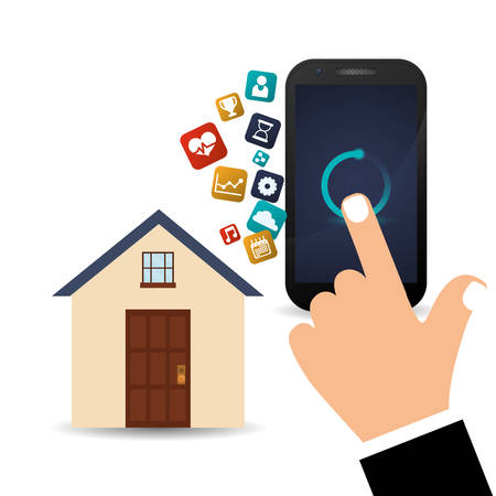 smartphone in hand: smartphone hand smart house home technology app icon set. Flat and Colorful illustration. Vector illustration